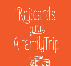 Line drawing of railcards on red background
