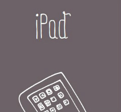 Line drawing of an ipad on grey background
